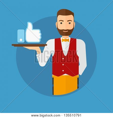 Hipster waiter carrying tray with like button. Waiter holding restaurant tray with like button. Waiter with social network button. Vector flat design illustration in the circle isolated on background.