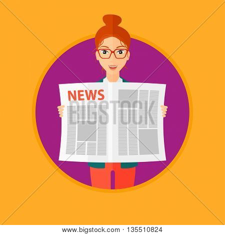 A happy woman reading the newspaper. Young smiling woman reading good news. Woman with newspaper in hands. Vector flat design illustration in the circle isolated on background.