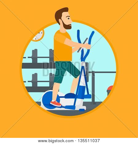 Hipster man exercising on elliptical trainer. Man working out using elliptical trainer at the gym. Man using elliptical trainer. Vector flat design illustration in the circle isolated on background.