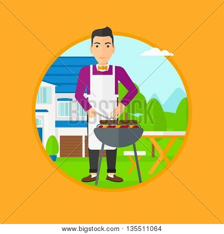 Man cooking meat on the barbecue grill in the backyard. Man preparing food on the barbecue grill. Man having outdoor barbecue. Vector flat design illustration in the circle isolated on background.