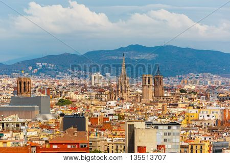 Aerial view of Barcelona with Cathedral of the Holy Cross and Saint Eulalia de Barcelona from the Montjuic hill, Catalonia, Spain.