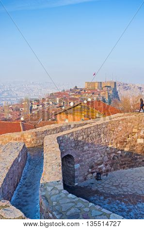 The view from the old tower on the red roofs and the medieval Hisar citadel Ankara Turkey.