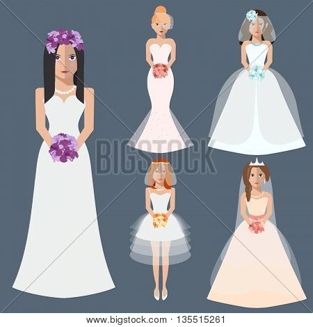 Wedding fashion. Collection brides in different dress style. Bridal shower decor set in flat design. Girl cartoon woman silhouette veil the bride's bouquet. Vector illustration