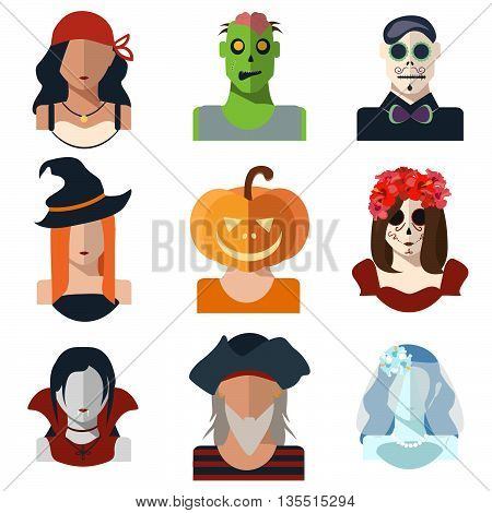 Halloween and Day of the Dead avatar icons in flat style. Vector characters: pirates witch zombie pumpkin vampire dead bride Katrina make-up day of the dead. Set of illustrations icons. EPS 10