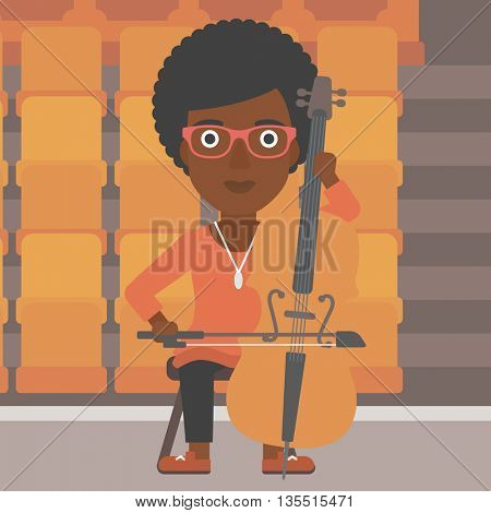 An african-american woman playing cello on the background of empty theater seats vector flat design illustration. Square layout.