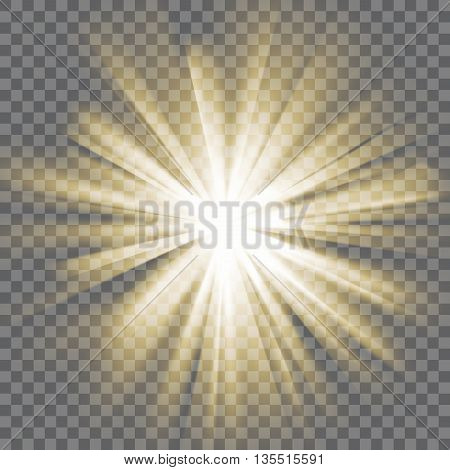 Yellow glowing light. Sun rays. Bursting explosion. Transparent background. Rays of light. Glaring effect with transparency. Abstract glowing light background. Vector illustration.