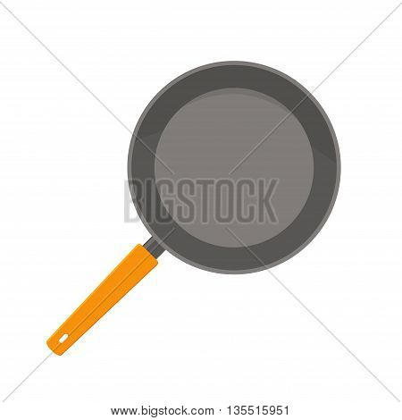 Pan cooking steel home kitchen equipment pot isolated on white background. Cooking pan and food preparing handle metal pan cartoon. Kitchenware pan restaurant preparing food in flat style.