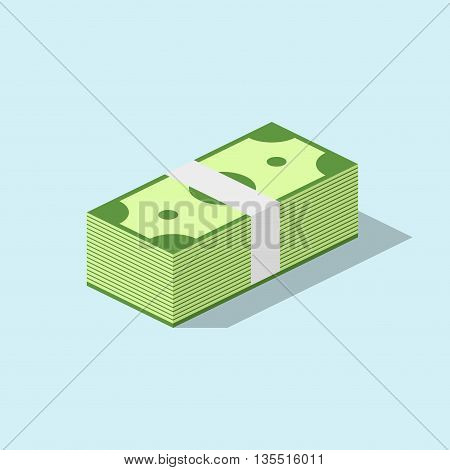 Pile of cash stacked hundreds of dollars in flat style. Dollar paper business finance money concept and dollar stack of bundles. Banking edition banknotes bills isolated on blue background.