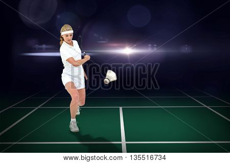 Composite image of badminton player playing badminton on badminton field