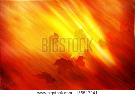 Golden autumnal yellow leaves copy space background