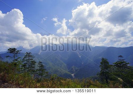 Beautiful view of Majestic Mount Kinabalu during blue sky with dramatic cloud.