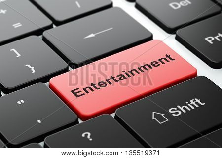 Entertainment, concept: computer keyboard with word Entertainment, selected focus on enter button background, 3D rendering