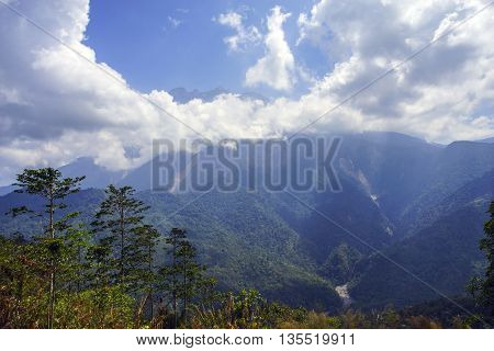 Beautiful view of Majestic Mount Kinabalu during blue sky with dramatic cloud. poster