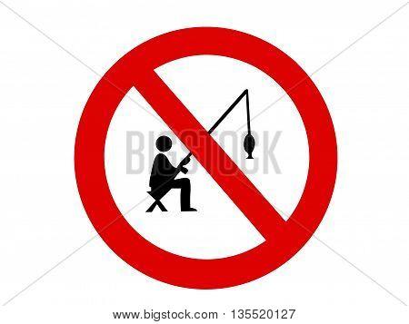 no fishing sign on white background, illustration