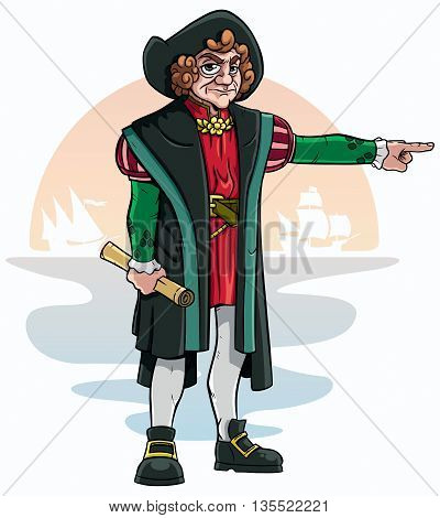 Cartoon of Christopher Columbus on white background.