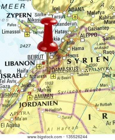 Map with pin set on Damascus, Syria.