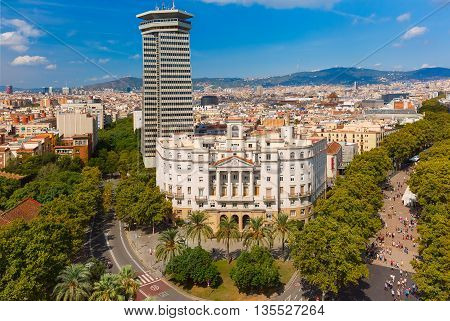 Aerial view over La Rambla from Christopher Columbus monument, with quarters of El Raval in Barcelona, Catalonia, Spain