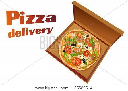 Pizza with mushroom and tomato, basil and olives, in pizza box on white background isolated. Pizza delivery text. Pizza to go. For pizza delivery service or pizzeria. Vector illustration stock vector.