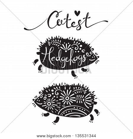 Vector illustration of cutest hedgehogs with flowers