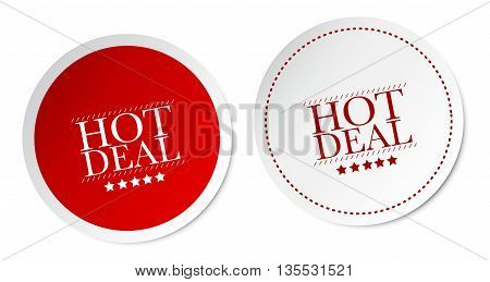 Hot Deal on white and red stickers