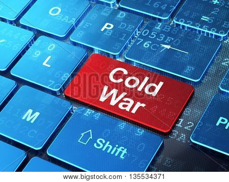 Political concept: computer keyboard with word Cold War on enter button background, 3D rendering