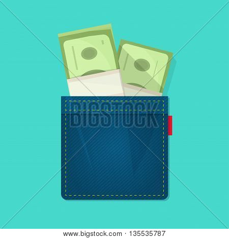 Jeans pocket with pile of paper money, concept of wallet, bag with cash heap, income, benefit, expenses, allowance savings, good success deal flat cartoon modern design vector illustration isolated