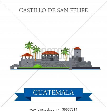 Castillo de San Felipe de Lara in Guatemala vector illustration