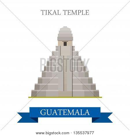 Tikal Temple in Guatemala flat cartoon vector illustration