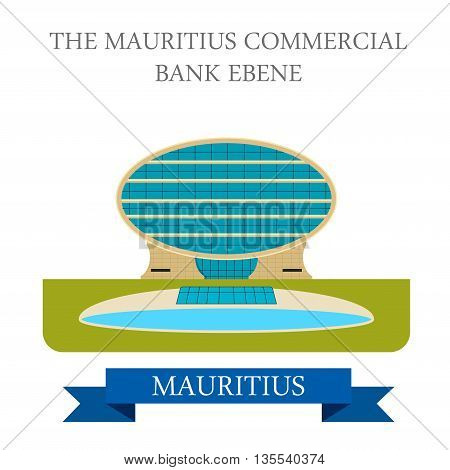 The Mauritius Commercial Bank Ebene. Flat vector illustration