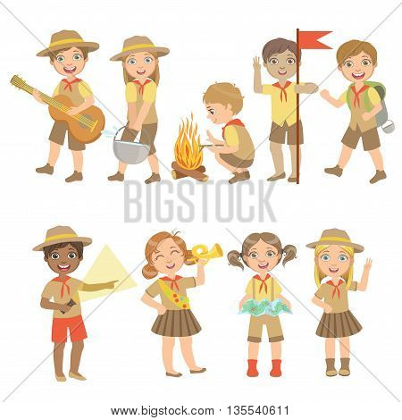 Kids Scouts Hiking Set Of Cute Big-eyed Characters Flat Vector Isolated Illustrations On White Background