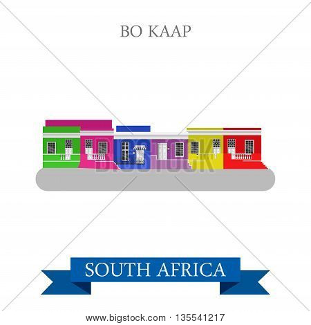 Bo-Kaap in Cape Town in South Africa. Flat vector illustration