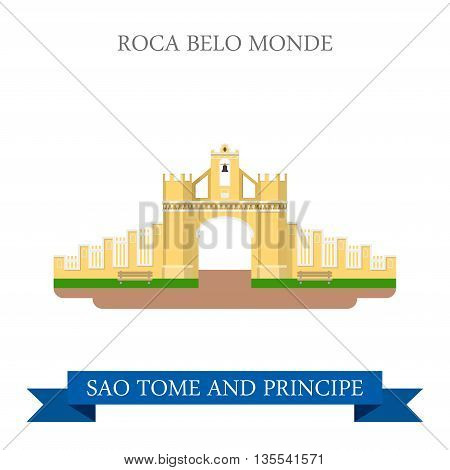 Roca Belo Monte Sao Tome and Principe Flat vector illustration