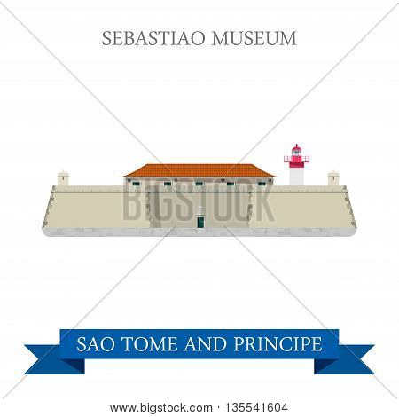 Sebastiao Museum SAO Tome and Principe Flat vector illustration