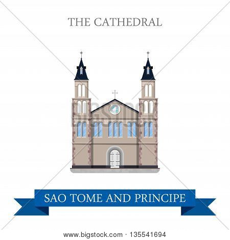 The Cathedral in Sao Tome and Principe. Flat vector illustration