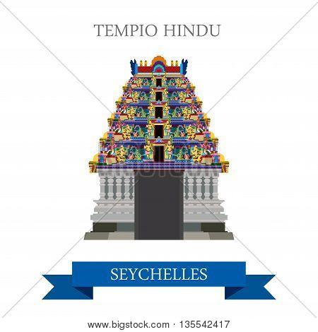 Tempio Hindu Victoria Seychelles Flat historic web vector