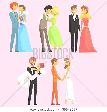 Couples Getting Married Flat Cool Cartoon Style Vector Drawings Set