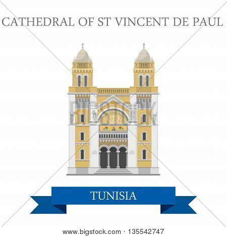 Cathedral of St Vincent de Paul Tunisia Flat historic web vector