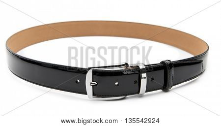 Black patent leather male belt isolated on white