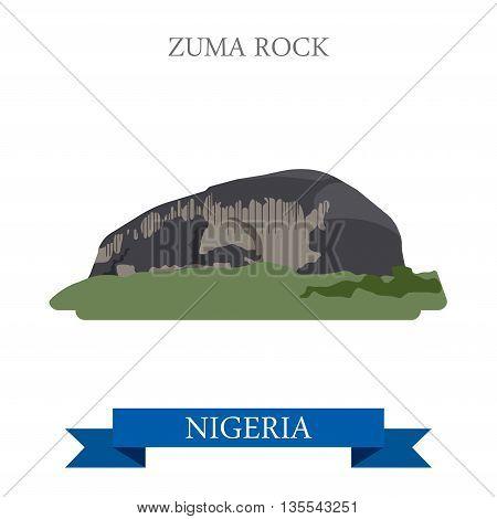 Zuma Rock in Nigeria Flat historic sight web vector illustration