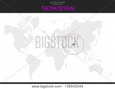 Republic of Tajikistan location modern detailed vector map. All world countries without names. Vector template of beautiful flat grayscale map design with selected country and border location