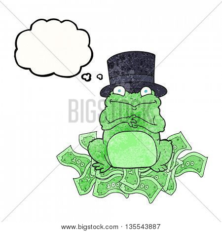 freehand drawn thought bubble textured cartoon rich frog in top hat
