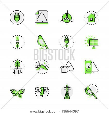 Green planet nature eco source energy lineart flat vector icon
