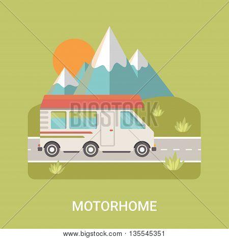 Motorhome Business logo Camp vector flat style illustration