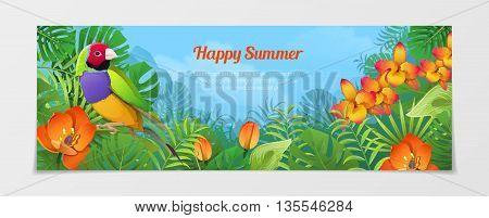 Happy summer tourism travel agency web vector illustration