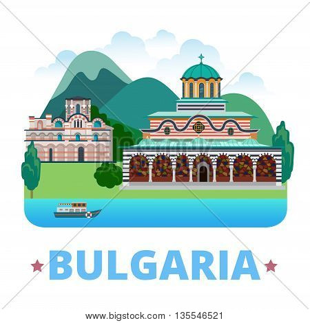 Bulgaria country design template. Flat style vector illustration