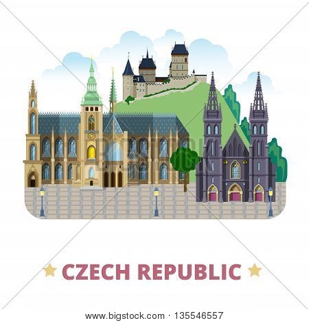 Czech Republic country design template Flat cartoon style vector