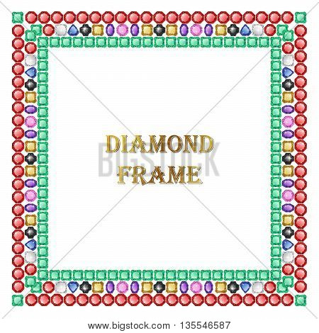 Diamond square frame. Vector jewerly background and place for your text. Abstract diamond vector. Diamond border