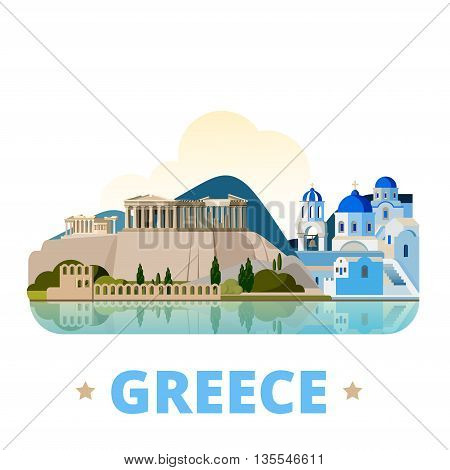 Greece country design template Flat cartoon style web vector
