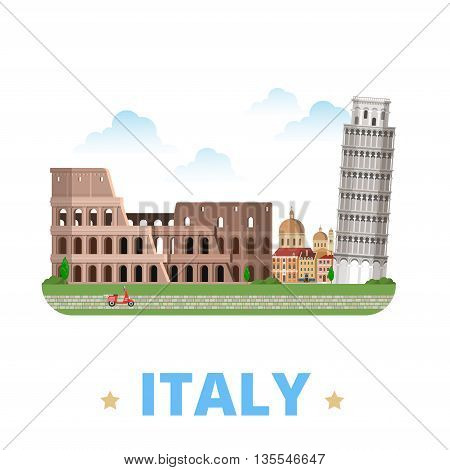 Italy country design template Flat cartoon style web vector