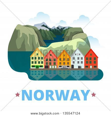 Norway country design template Flat cartoon style web vector